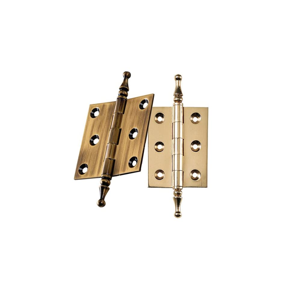 Antique Brass Finial Tip Hinges 3 Long x 2 Wide