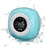 VTIN Mini Bluetooth 4.0 Lautsprecher Wasserdicht Wireless Tragbare Outdoor Indoor Speaker FM Radio mit Mic, LCD Display, Saugnapf, Subwoofer Effekt für Handys iPhone - Blauen