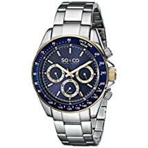 SO&CO New York Men's 5010B.3 Monticello Quartz GMT Day and Date Tachymeter Blue Dial Stainless Steel Link Bracelet Watch