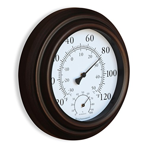 new 8 metal decorative indoor outdoor thermometer and hygrometer bronze ebay. Black Bedroom Furniture Sets. Home Design Ideas