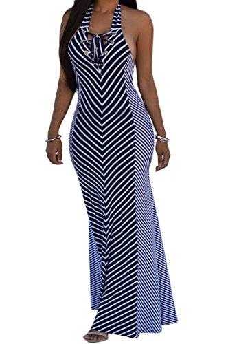 Shekiss Sexy Women Summer Maxi Stripe Stretch Bodycon Party Bandage Club Dresses