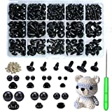 Safety Eyes and Noses, 462Pcs Black Plastic Stuffed Crochet Eyes with Washers for Crafts