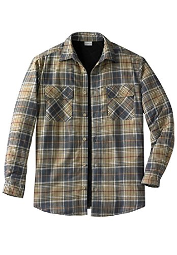 Kingsize Men's Big & Tall Plaid Flannel Work Shirt Jacket, Dark Khaki Plaid