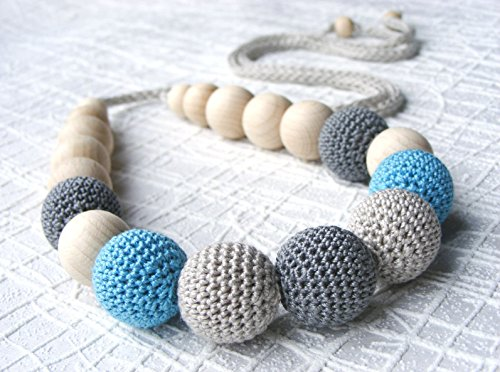 Neutral crochet necklace, nursing necklace, teething necklace, breastfeeding necklace, crocheted wooden necklace, natural, eco-friendly, neutral, grey, gray, light blue
