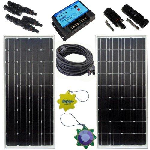 Hqrp Solar Panel Kit (170W (85W+85W) Solar Panel 170 Watt Power, 20A Solar Charge Controller / Regulator 12V / 24V, Pair 25Ft (7.62M) 1X4Mm² Solar Cables W/ Mc4 Connectors, Pair Mc4 Solar Panel Connector (M&F), Pair Mc4 T-Branch Solar Panel Connector(1F2M