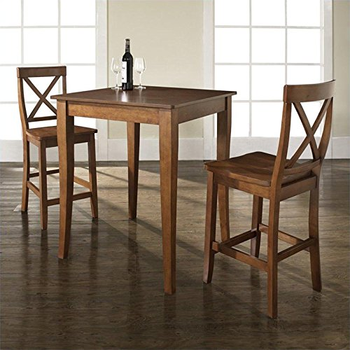 Crosley 3 Piece Pub Dining Set w/ Cabriole Leg and X-Back Stools in Classic Cherry