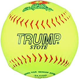 Trump® AK-SS-375 12 Inch Red Stitch Synthetic Leather Softball - Official Softball of Senior Softball USA (Sold in Dozens)