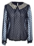 Anna-Kaci S/M Fit Black Sheer Polka Dots Sparkle Sequined Collar L/S Fashion Top