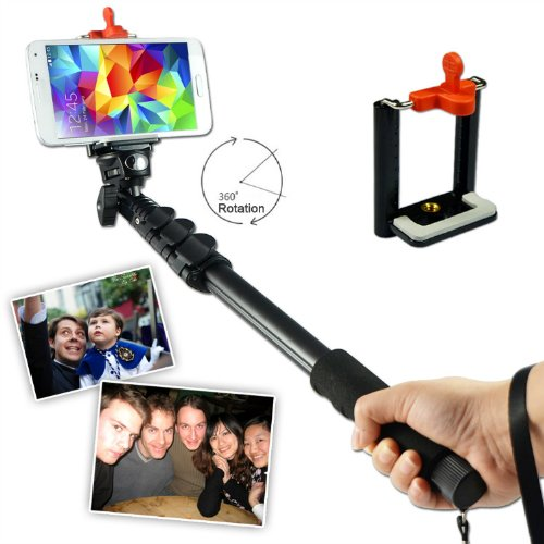 First2Savvv Zp-188A01 Black Self-Portrait Extendable Telescopic Handheld Pole Arm Monopod Camcorder/Camera/Mobile Phone Tripod Mount Adapter Bundle For Sony Xperia Go