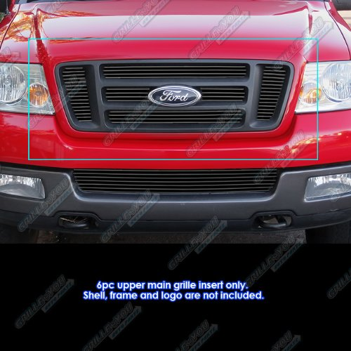 Fits 2004-2008 Ford F150 Bar Style Black Billet Grille Grill Insert # F65726H (Ford F150 2008 Front Emblem compare prices)