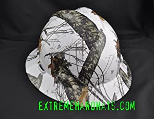 MSA V-gard Full Brim Camoflauge Mossy Oak Winter Camo Hard Hat w/ratchet suspension