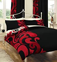 Black Red & Cream Bold Printed King Size Duvet Cover Bed Set