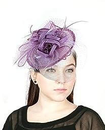 NYfashion101(TM) Cocktail Fashion Sinamay Fascinator Hat Flower Design & Net S102651-Lilac