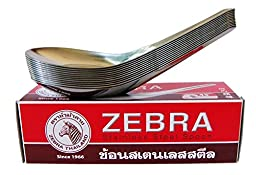 Zebra Spoon Pack of 36 Zebra Thai Chinese Asian Stainless Steel Rice Soup Spoons High Quality (3, A)