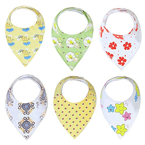 Baby Bandana Drool Bibs Unisex | 6 Pack Gift Set for Newborns to Toddlers | Soft Cotton and Absorbent Polyester | Adjustable Nickel Free Snaps | Nice Shower Gift (Urban Pod Car Seat Cover compare prices)