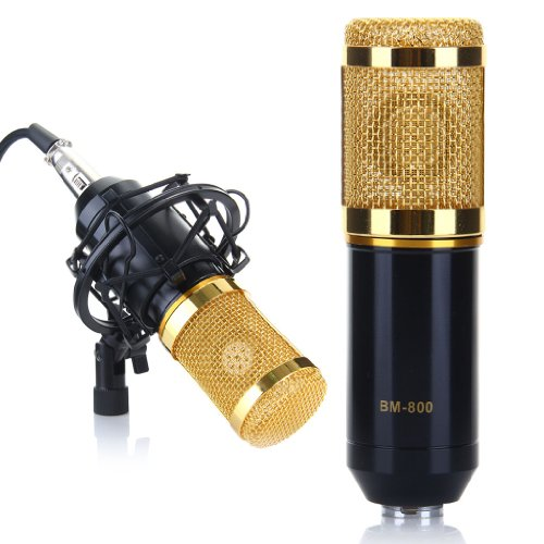 Excelvan® Bm-800 Condenser Sound Recording Microphone + Mic Shock Mount, Ideal For Radio Broadcasting Studio, Voice-Over Sound Studio, Recording And So On (Black)