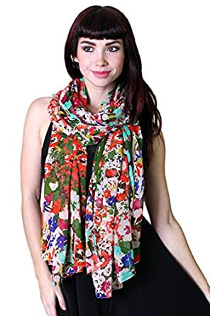 Women's Emma Chiffon Pretty Floral Delight Fashion Scarf / Shawl / Wrap