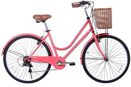 Gama Bikes Women's City Basic Step-Thru 6 Speed Shimano Hybrid Urban Cruiser Commuter Road Bicycle, 26-inch wheels 0