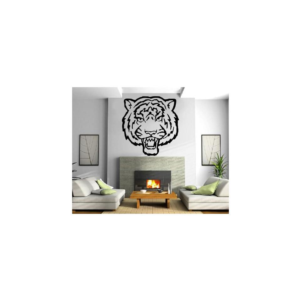 Tiger Head Imprint Asian Hunter Tribal Animal Design Wall Mural Vinyl Decal Sticker M282