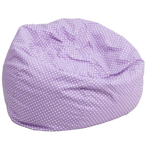 Flash Furniture Bean Bag Chair, Oversized, Lavender with White Dots