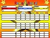 Reward Board - Tabla de Recompensas - Magnética toallita limpia bordo con el colgante de lazo y potentes imanes para colgar en la nevera si es necesario. Utilice para un máximo de 3 niños . 32 x 42 cms