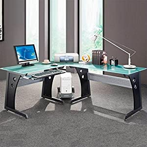 Techni Mobili L shaped Glass puter Desk