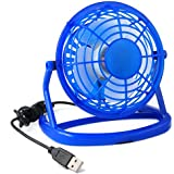 TRIXES Mini ventilateur de bureau bleu connexion USB ordinateurs ordinateurs portables silencieux