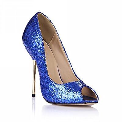 DolphineGirl Women Fashion Glitter Peep Toe High Heels D'Orsay Pump Stiletto SM00190
