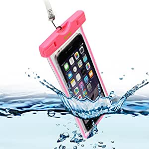 iKross Universal Waterproof Underwater Pouch Carrying Case with Neck Strap for Apple iPhone 6 / 6 Plus, Samsung Galaxy Note 4 / 3 / 2, Galaxy S5 / S4, OnePlus, LG G3, Nokia, Motorola, HTC One, and Other Smartphone - Hot Pink