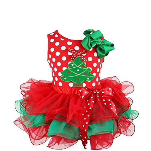 Kirei Sui Girls Red Green Petal Tutu Plus Red Polka Dots Christmas Tree Tank Top