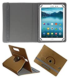 Acm Designer Rotating 360° Leather Flip Case For Huawei Honor T1 Tablet Stand Premium Cover Golden