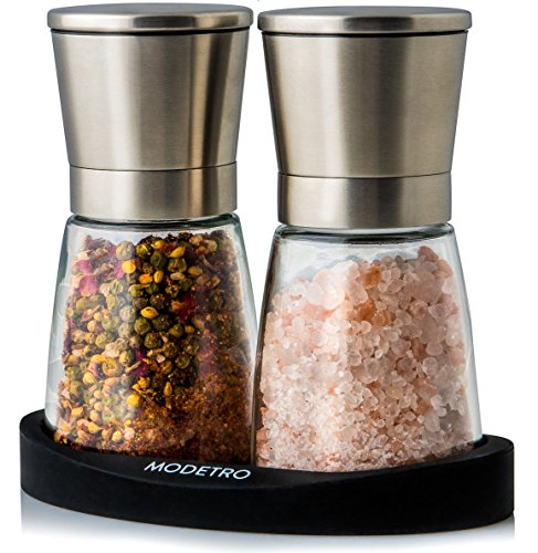 Salt and Pepper Grinder Set with Silicon Stand - Premium Pair of Salt & Peppercorn Mills with Adjustable Ceramic Coarseness - Brushed Stainless Steel and Glass Body Shakers