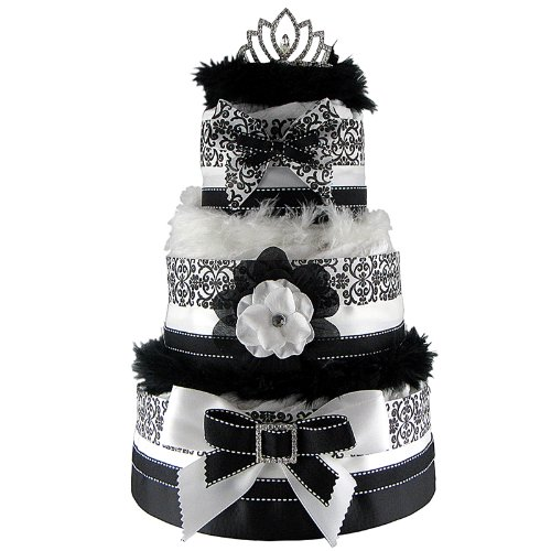 Nyc Diaper Cake Elegant Black And White Damask 3 Tier Diaper Cake