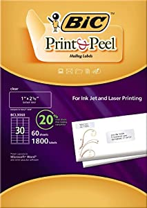 "BIC Print & Peel Mailing Labels - 1"" x 2 5/8"" - 30 labels per sheet / 60 sheets per package (clear)"