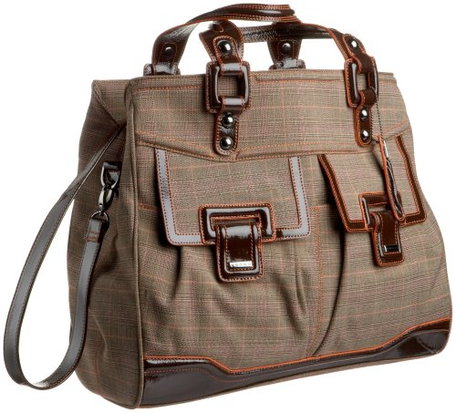 Cross Town AC185-5 Ladies Computer Bag Collection Knightsbridge Large Tote with Complimentary Mini Pen In Pen Charm Sleeve (Brown Plaid)