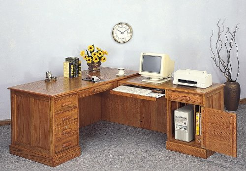 L-Shaped Oak Finish Executive Office Computer Desk with Return