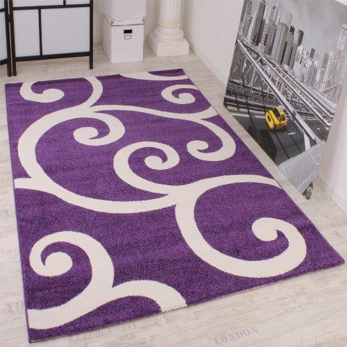 Moderner Kurzflor Velours Designer Teppich 70 x 140 Muster in Lila Weiss