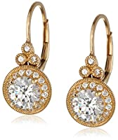 Plated Sterling Silver Swarovski Zirconia Round Antique Earrings by Amazon Curated Collection