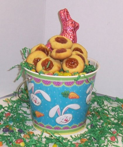 Scott'S Cakes 2 Lb. Guava Butter Cookies In A Blue Bunny Pail With Jelly Beans And Milk Chocolate Bunny