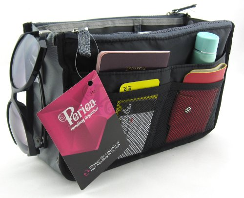 Periea Handbag Organizer, 12 Compartments - Chelsy (Black, Medium) (Purse Organizer Insert compare prices)