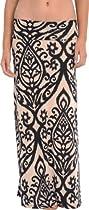 Candelabra Print Maxi Skirt, XL, Ivory-Black