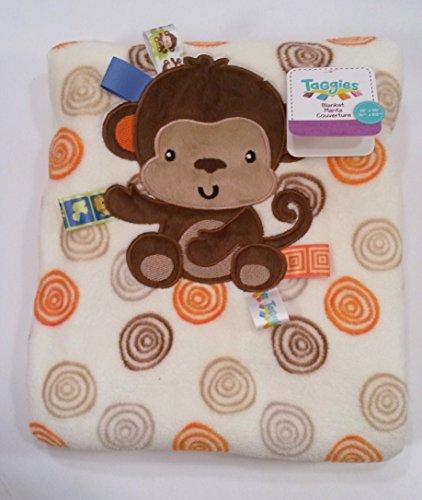 "Taggie's (Monkey Print Swirl Coral Plush Blanket 30""x40"" - Boys)"