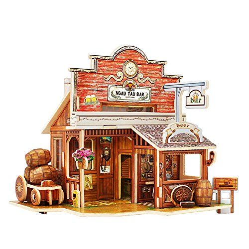 Kids Wooden Toys Jigsaw 3D Wooden Puzzle House Building Toys Children's Educational Chalets Wood Toys for Birthday Gift