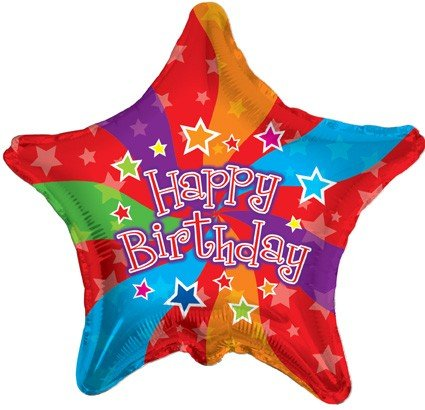 "18"" Foil Balloon, Happy Birthday Colors (1 Ct)"