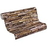 A.S. Creation 914217 Mustertapete in Natursteinoptik Wood`n Stone, braun, beige, grau, schwarz