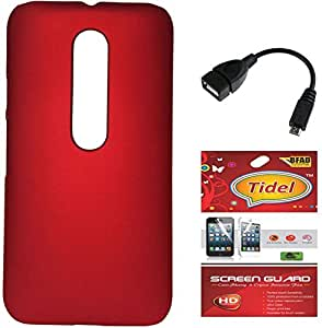 Tidel Red Ultra Thin and Stylish Rubberized Back Cover For Motorola Moto X PLAY With Tidel SCREEN GUARD & MICRO OTG CABLE