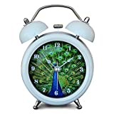 """iCasso 3"""" Peacock Showing Off Quiet Non-ticking Silent Quartz Analog Metal Twin Double Bell Alarm Clock with Loud Alarm and Nightlight with 4pcs iCasso Cable Ties"""