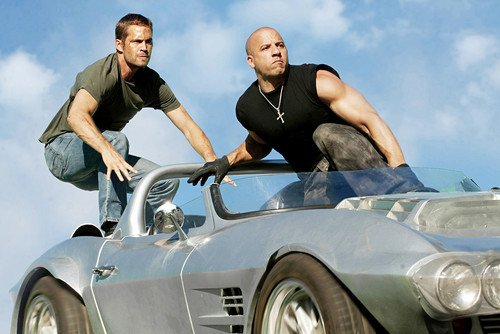 Vin Diesel Paul Walker Fast Five Great Action Shot With Car 24x36 Poster