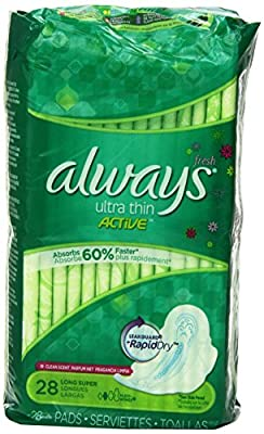 Always Ultra Thin Pads Super Fresh Active with Flexi-Wings Scented, 28 Count (Pack of 2) (Packaging May Vary)