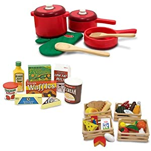 Melissa Doug Deluxe Wooden Kitchen Accessory Set With Wooden Food Groups And